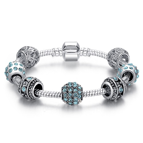 Lovely Women's Bracelet with Cubic Zirconia Charms