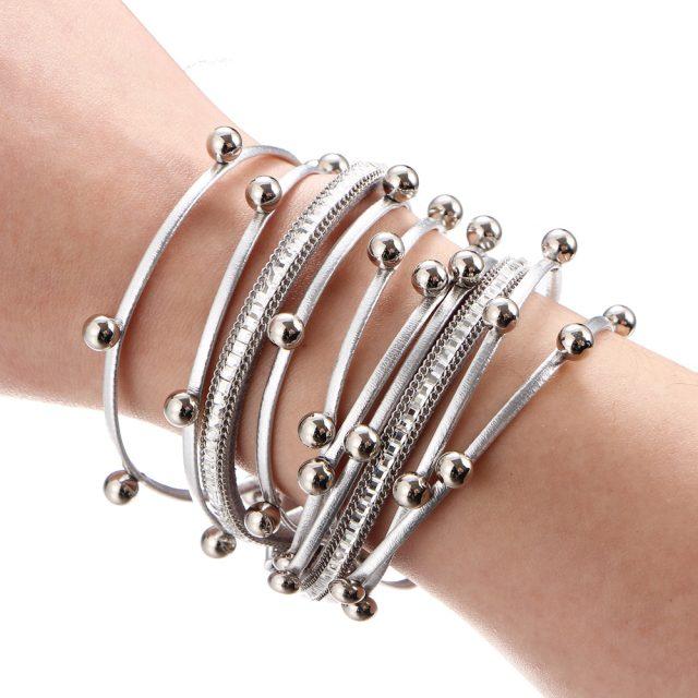 Women's Metallic Multilayer Wrap Bracelet