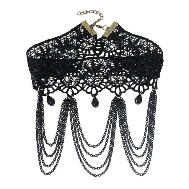 Victorian Gothic Choker with Lace Decorations