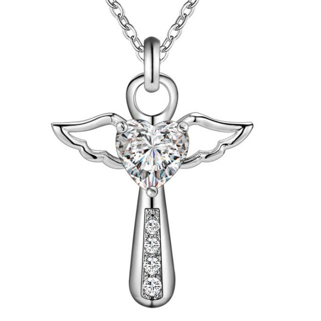 Women's Silver Cross with Angel Heart Necklace