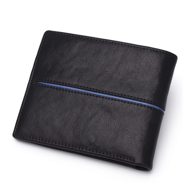 Men's Genuine Leather Wallet with Contrast Line