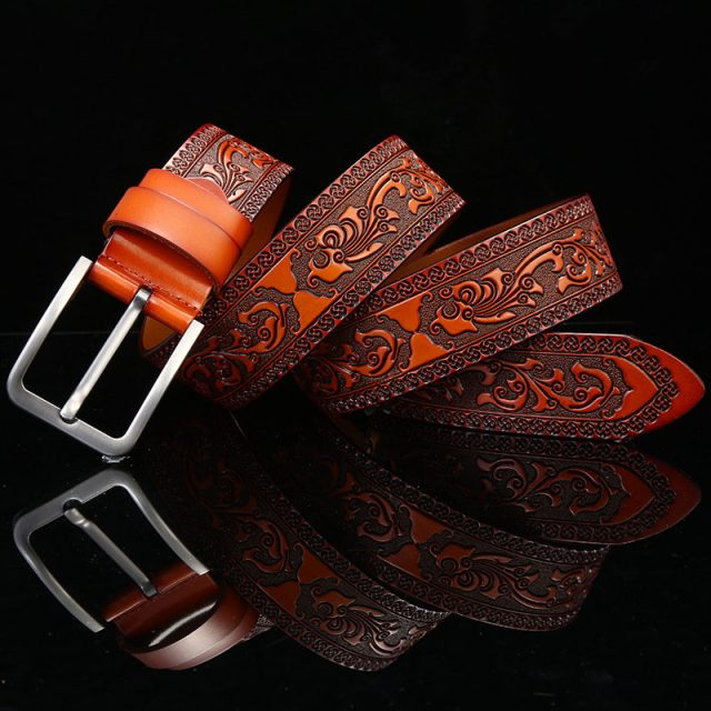 Men's Carved Pattern Genuine Leather Belt