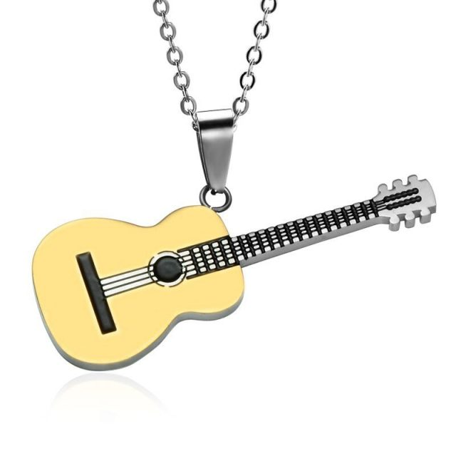 Two Tone Titanium Stainless Steel Guitar Pendant Necklace