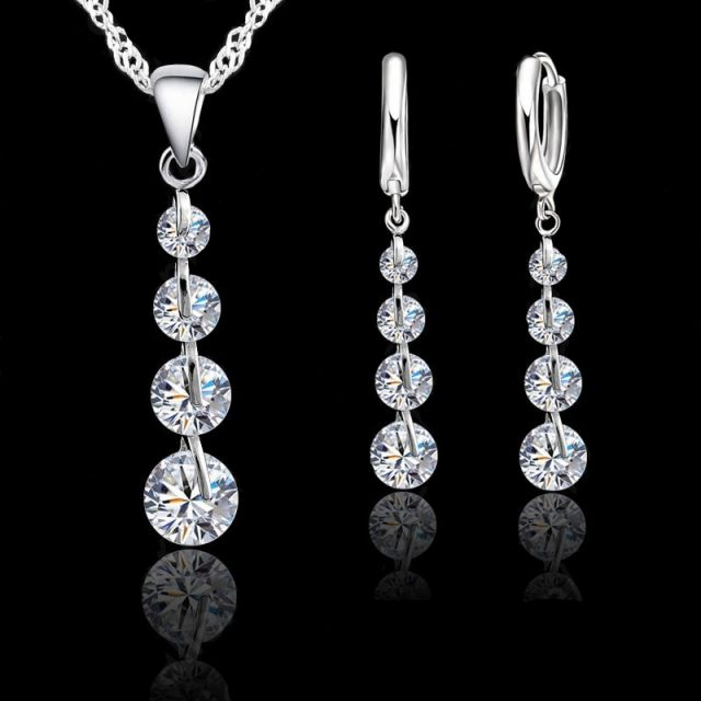 JEXXI Romantic 925 Sterling Silver Link Chain Crystal Jewelry Set